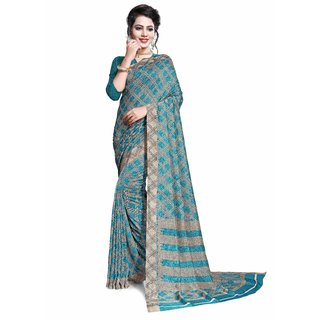Miraan Printed Vichitra Silk Saree for women with Blouse Piece  (PC2702ABLUE)