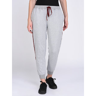 Rigo Grey Terry Joggers With Contrast Side Panel For Women