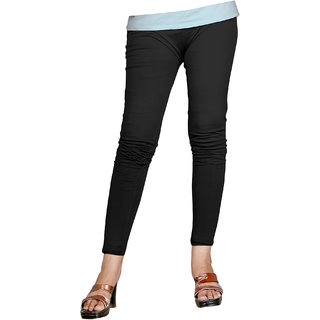 Naisargee Women's and Girl's Black Cotton Ankle Length  Leggings (Free Size)