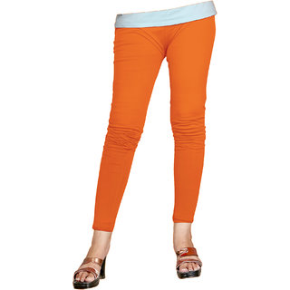Naisargee Women's and Girl's Orange Cotton Ankle Length  Leggings (Free Size)