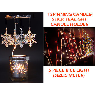 Dcorative 1 Spinning Candlestick Tealight Candle Holder and 5 Piece Rice Light 5 Meter