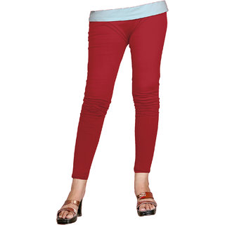 Naisargee Women's and Girl's Dark Red Cotton Ankle Length  Leggings (Free Size)