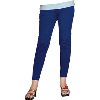 Naisargee Women's and Girl's Royal Blue Cotton Ankle Length  Leggings (Free Size)