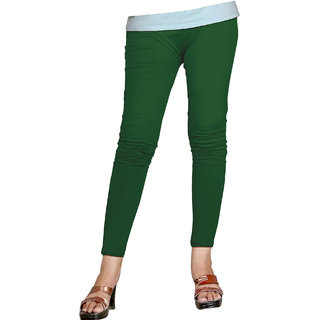 Naisargee Women's and Girl's Dark Green Cotton Ankle Length  Leggings (Free Size)