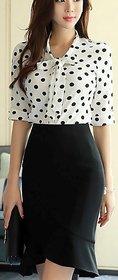 Rimsha women's wear polka dot roll up sleeve top