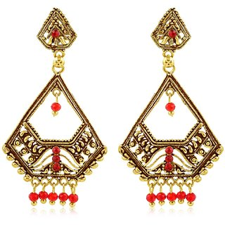 Sukkhi Pleasing Gold Plated Red Studded Dangle Stone Earring For Women