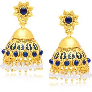 Sukkhi Stylish Gold Plated Blue Studded Jhumki Stone Earring For Women