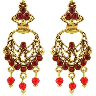 Sukkhi Sparkling Gold Plated Maroon Studded Chandbali Stone Earring For Women