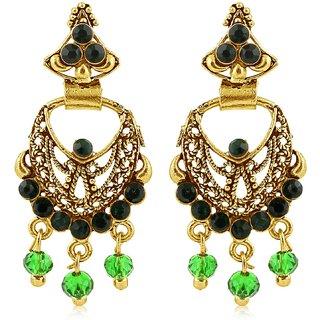 Sukkhi Blossomy Gold Plated Green Studded Chandbali Stone Earring For Women
