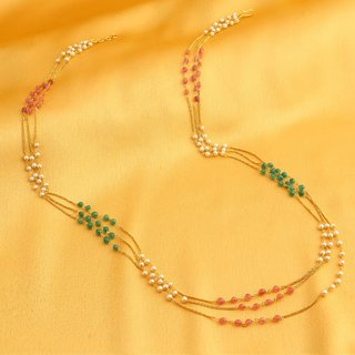 Sukkhi Classy Gold Plated 3 String Multicolour Necklace For Women
