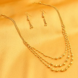 Sukkhi Classic 3 String Gold Plated Necklace Set For Women