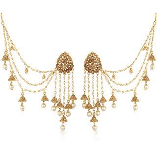 Meia Bahubali Inspired Earrings With Beads Chain Jhumki Earring For Women