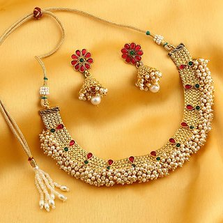 Sukkhi Dazzling Reversible Gold Plated Necklace Set With Floral Earrings For Women
