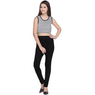 Swaron Black Cotton Churidar Legging