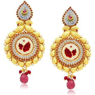 Sukkhi Delightly Leaf Gold Plated Dangle Earring For Women