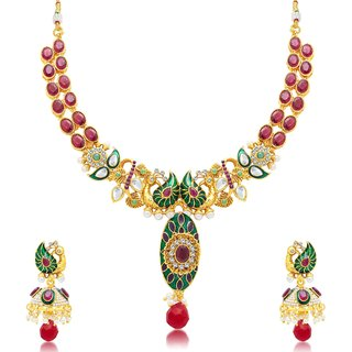 Sukkhi Luxurious Peacock Gold Plated Choker Necklace Set For Women