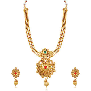 Trushi Ethnic Designer Gold Plated Semi Long Necklace Set With Multi-Color Stones For Womens