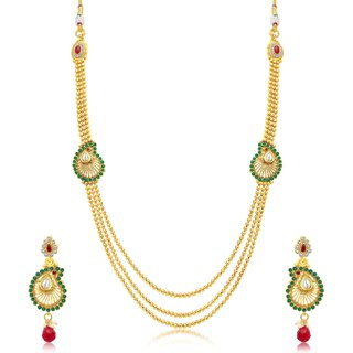 Sukkhi Dazzling 3 String Gold Plated Long Haram Necklace Set For Women