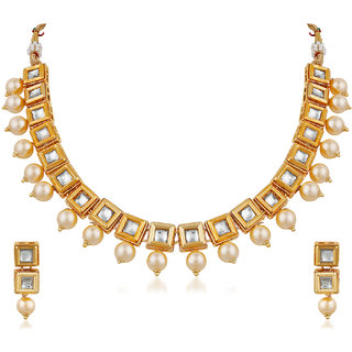 Trushi Stylish Gold Plated Designer Necklaces Set With White Kundan And Pearl For Women