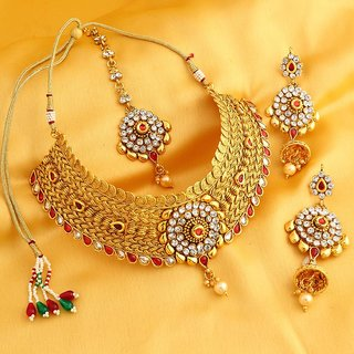 Meia Trendy Jalebi Gold Plated Necklace Set For Women