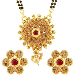 Sukkhi Traditional Jalebi Floral Gold Plated Mangalsutra Set For Women