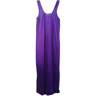 K T Collection Cotton Long Slip Nighty Size Large Voilet