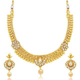 Sukkhi Divine Mango Gold Plated Choker Necklace Set For Women