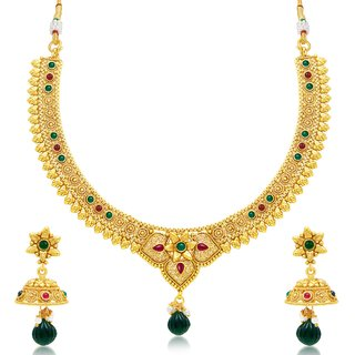Sukkhi Designer Gold Plated Choker Necklace Set For Women