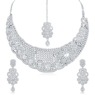 Sukkhi Classy Ad Rhodium Plated Necklace Set For Women