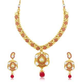 Sukkhi Modish Gold Plated Maroon Studded Stone Choker Necklace Set For Women