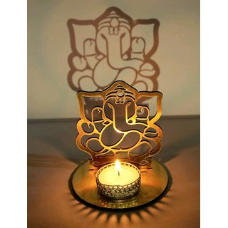 Prem Mithlesh Shadow Diya Tealight Candle Holder Of Ganesh Ji As Diwali Gift, Corporate Gift WITH CANDLE