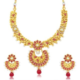 Sukkhi Finely Gold Plated Choker Necklace Set For Women