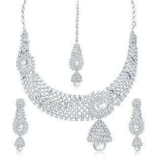 Sukkhi Traditional Ad Rhodium Plated Necklace Set For Women