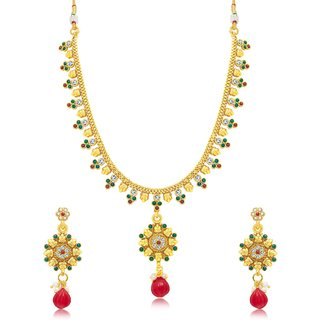 Sukkhi Luxurious Gold Plated Choker Necklace Set For Women