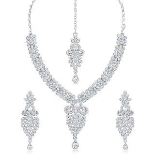 Sukkhi Amazing Ad Rhodium Plated Necklace Set For Women