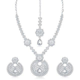 Sukkhi Fabulous Ad Rhodium Plated Necklace Set For Women