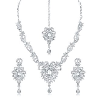 Sukkhi Pleasing Ad Rhodium Plated Necklace Set For Women