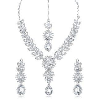 Sukkhi Lavish Ad Rhodium Plated Necklace Set For Women