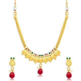 Sukkhi Sleek Laxmi Coin Gold Plated Traditional Necklace Set For Women
