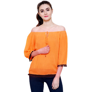 a891c4e701064 Buy Flickzon women orange rayon crepe off shoulder western wear top with  plus size M to 7XL Online - Get 68% Off