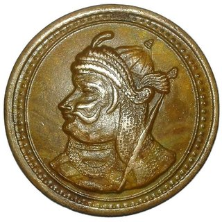 INDIA ''KING OF MEWAR'' MAHARANA PRATAP-YEAR 1582 BIG TEMPLE TOKEN COPPER COIN WT- 52GM SIZE- 50 MM