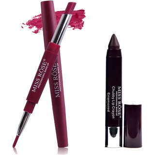 MISS ROSE DOUBLE HEAD MATTE LOOK LIPSTICK WITH LIP LINER AND CHUBBY LIPSTICK / LIP CRAYON