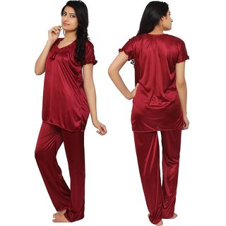 0cf972cab1 Smoot red soft Satin Solid Nightwear Short Sleeve Night Suit Top Pajama Set