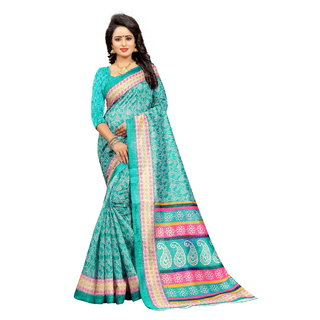 V-KARAN Women's Green Bhagalpuri Silk  Printed Party Wear Saree With Blouse