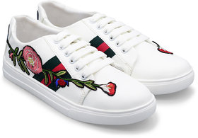 Trendy Look Embroidered Sneakers For Women  (White)