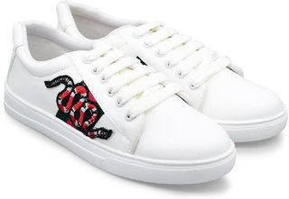 Trendy Look snake embroidered Sneakers For Women  (White)