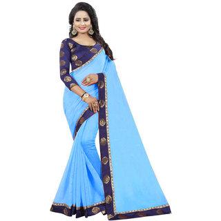V-KARAN Women's Sky Blue Chanderi Silk  Printed Party Wear Saree With Blouse