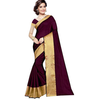 V-KARAN Women's Maroon Cotton Silk  Printed Party Wear Saree With Blouse