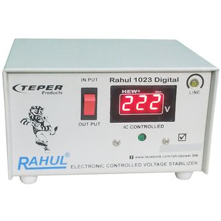 Rahul 1023 a Digital 600 VA/2 AMP 140 Volt 1 Refrigerator 90 Ltr to 185 Ltr 3 Step Auto Matic Digital Voltage Stabilizer