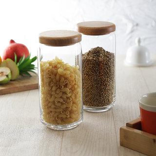 Ocean Pop Jar with Wooden Lid 1000 ml - Set of 6